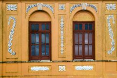 Colorful house and windows. Front of colonial house. Areia city, Paraiba, Brazil stock images