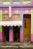 Colorful house and windows. Front of colonial house. Areia city, Paraiba, Brazil stock image