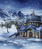 Colorful house in winter Royalty Free Stock Images