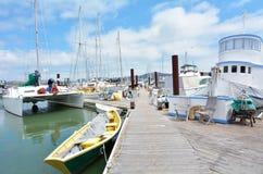 Colorful houseboats in Sausalito California stock photo