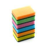 Colorful household sponges for washing dishes on a white background. Colorful household sponges for washing dishes, on a white background royalty free stock image