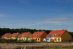 Colorful houses. Colorful semi-detached houses - suburban residential housing Royalty Free Stock Images