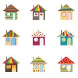 Colorful houses. Set of 9 colorful houses Stock Image