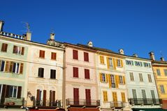 Colorful houses. Typical colorful houses on blue sky, Orta St. Giulio village, Orta lake, Piedmont, Italy Stock Photos