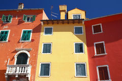 Colorful houses. In the town of Rovinj (Croatia, Europe Stock Photo