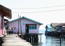 Colorful houses above sea. Colorful fishers houses above sea in Sorong (Papua Barat, Indonesia Royalty Free Stock Photos