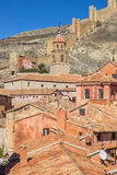 Colorful houses of Albarracin and the surrounding walls Royalty Free Stock Photos
