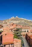 Colorful houses of Albarracin and the surrounding walls Stock Image