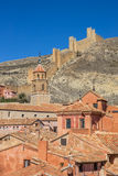 Colorful houses of Albarracin and the surrounding walls Royalty Free Stock Images