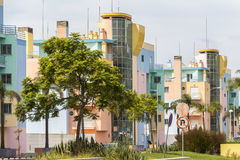 Colorful houses in the Algarve region, Portugal Royalty Free Stock Photos