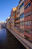 Colorful houses along the Onyar river in Girona, Catalonia, Spai Royalty Free Stock Images