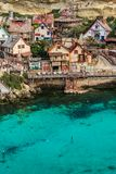 Colorful houses in Anchor Bay, Popeye Village,Malta.  Stock Photo
