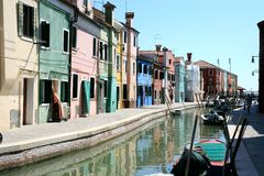 Colorful Houses And Canal Of Burano, Venice Italy Stock Photography