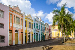 Colorful houses of Antenor Navarro Square at historic Center of Joao Pessoa - Joao Pessoa, Paraiba, Brazil Stock Images