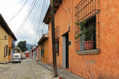 Colorful houses in Antigua, Guatemala, Central America. Royalty Free Stock Images