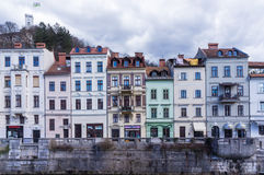 Colorful houses on the banks. Of ljubljanica river Royalty Free Stock Images