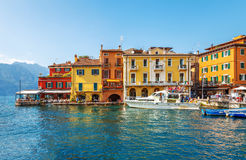 Colorful houses in bay of old italian town malcesine Stock Photo