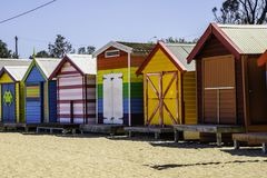 Colorful houses on the beach in Melbourne Australia stock images