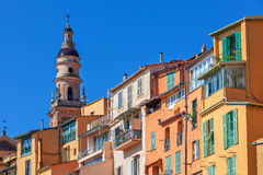Colorful houses and belfry in Menton, France. Royalty Free Stock Image