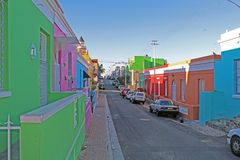 Colorful houses in the Bo Kaap district, Cape Town, South Africa royalty free stock photography