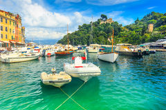 Colorful houses and boats in harbor,Portofino,Liguria,Italy,Europe Royalty Free Stock Photography