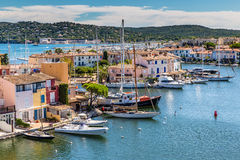 Colorful Houses And Boats In Port Grimaud-France stock image