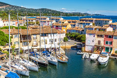 Colorful Houses And Boats In Port Grimaud-France royalty free stock image