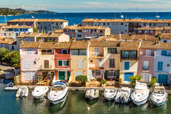 Colorful Houses And Boats In Port Grimaud-France royalty free stock images