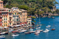 Colorful houses and boats in Portofino. stock photography