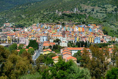 Colorful houses of Bosa town in Sardinia Stock Image