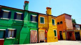 Colorful houses building. Architecture in Burano Islamd, Venice, Italy royalty free stock image