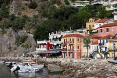 Colorful houses and building Parga Greece summer. Vacation stock photography