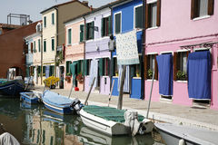 Colorful houses Burano. Colorful houses on the island of Burano in the Venetian lagoon - Italy. Just 30 minutes from the center of the town Stock Photography