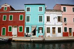 Colorful houses Burano. Colorful houses on the island of Burano in the Venetian lagoon - Italy Royalty Free Stock Photography