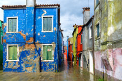 Colorful houses of Burano. Abandoned colorful houses of Island Burano nearby Venice in Italy stock image
