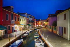 Colorful houses in Burano at dusk, Venice, Italy Royalty Free Stock Photos