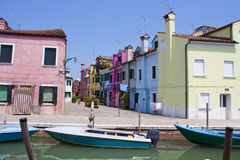 Colorful houses at Burano island Stock Photos