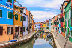 Colorful Houses in Burano island Stock Images