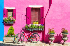 Colorful houses in Burano island near Venice, Italy Royalty Free Stock Photos