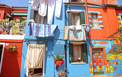 Colorful houses in Burano island, Venice Stock Photos