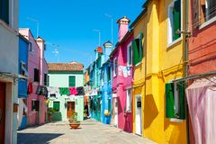 Colorful houses on Burano island, Venice, Italy stock photography