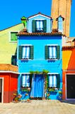 Colorful houses on Burano island, Venice, Italy royalty free stock photography