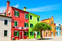 Colorful houses on Burano island, Venice, Italy royalty free stock photos