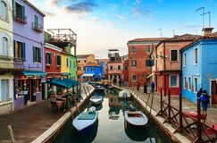 Colorful houses in Burano island. VENICE, ITALY - JANUARY 06, 2018: View on the colorful houses in Burano island, during winter days, Venice, Italy Stock Photo