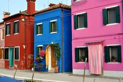 Colorful houses of Burano Island, Venice, Italy Stock Photos