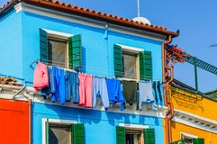 Colorful houses Burano. Italy Royalty Free Stock Images