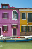 Colorful houses in Burano Italy Stock Images