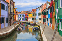 Colorful Houses in Burano, Italy Stock Photo