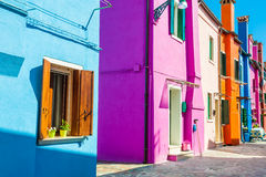 Colorful houses in Burano near Venice, Italy Royalty Free Stock Photography