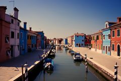 Colorful Houses on Burano, Venice Stock Images